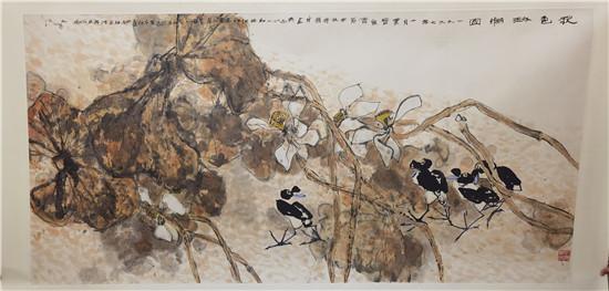 江文湛,八尺荷花,展览发表出版,尺寸125/245