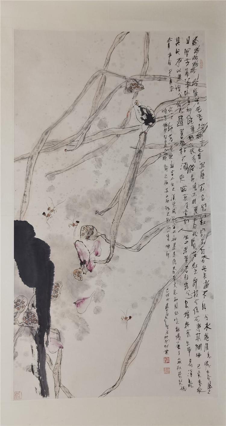 江文湛,六尺花鸟,尺寸98/180