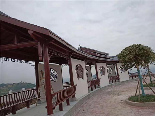 汉中城固桔园景区观景长廊、亭子