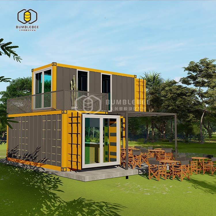 眉山黄色双层集装箱移动商业售卖中心 景区游客休闲区域规划