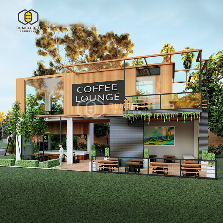 资阳集装箱现代简约风装配式咖啡厅 公园城市售卖综合体