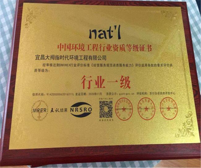 中国环境工程行业资质等级证书