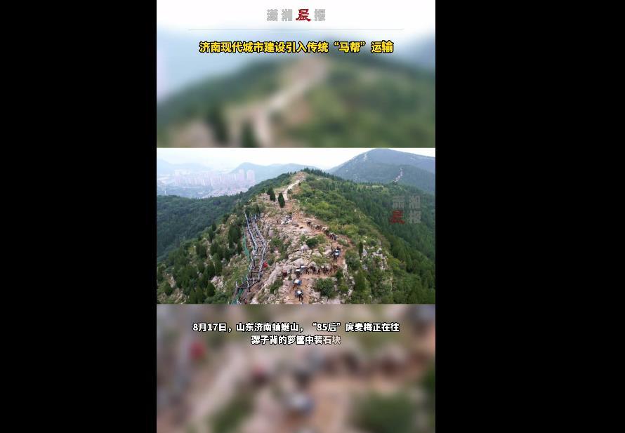 """济南山间重现古老""""马帮"""" 为现代城市建设驮沙运石"""