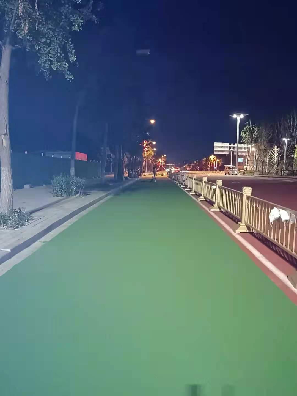 西安市太华路非机动车道绿色陶瓷颗粒防滑路面
