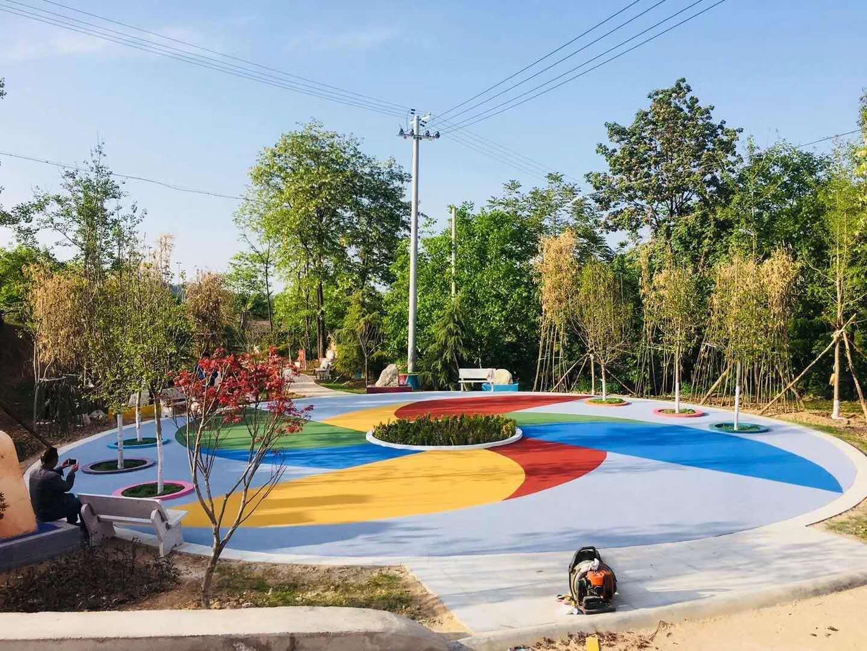 广场彩色路面展示