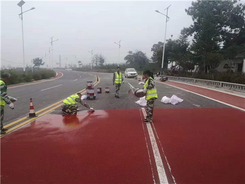 陶瓷颗粒彩色防滑路面施工案例