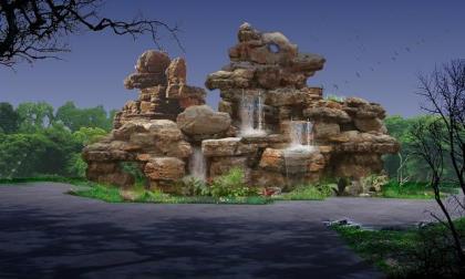 室外假山喷泉