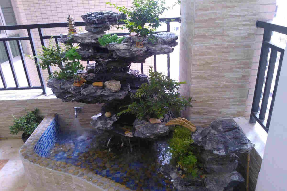 露天阳台假山