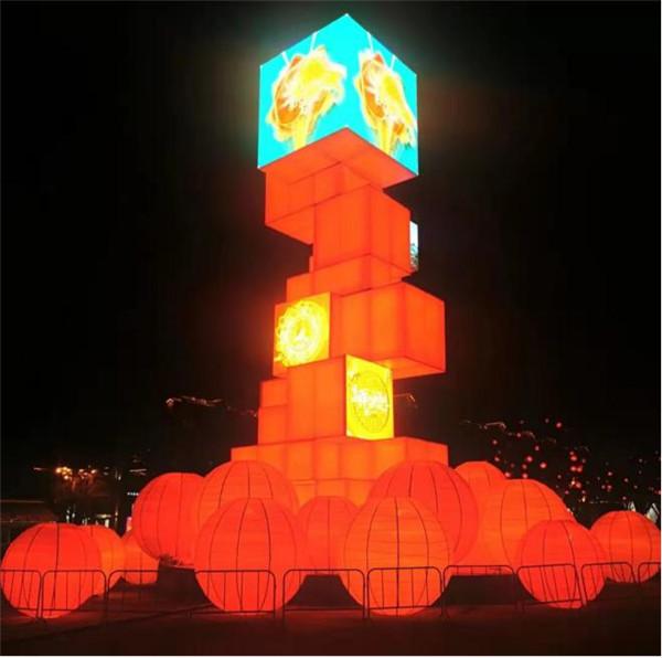 35米高雕塑配LED显示屏夜间效果