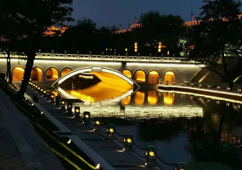 西安护城河石头灯后期效果