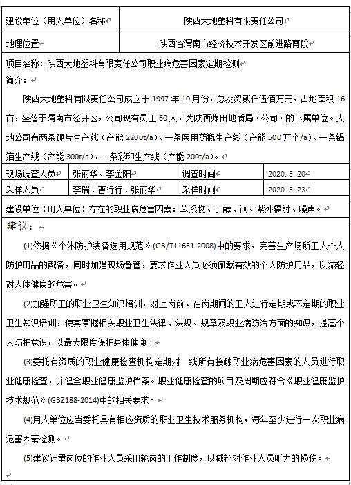 陕西大地塑料有限责任公司职业病危害因素定期检测