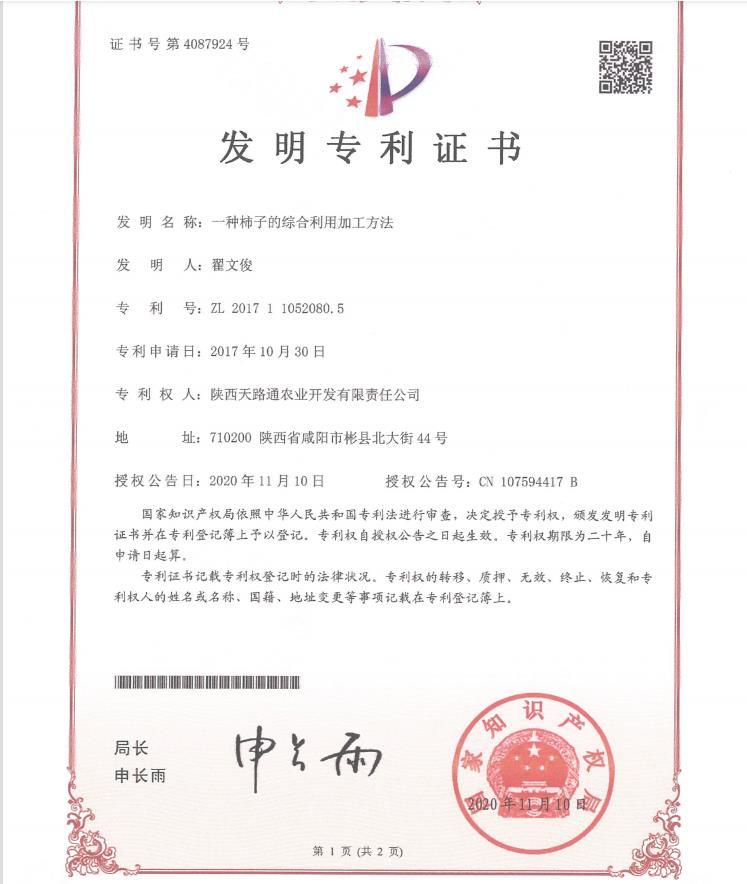 发明专利证书:一种柿子的综合利用加工方法