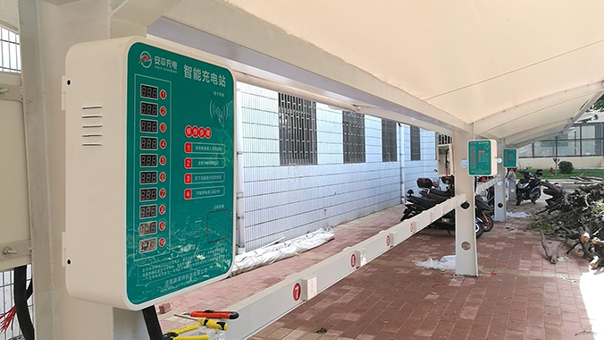 河南农业干部学校充电车棚案例
