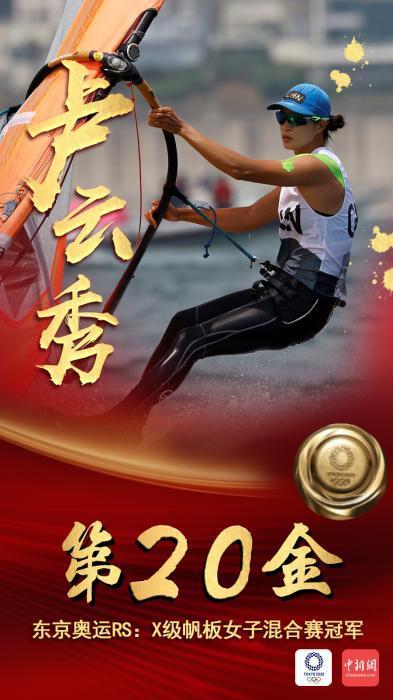 第20金!东京奥运会女子帆板RS:X级卢云秀夺冠