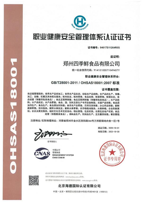 质量健康安全管理体系证书