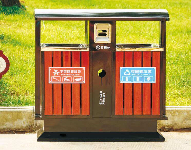 甘肃兰州定西钢木垃圾桶生产厂家景区公园垃圾桶制造商