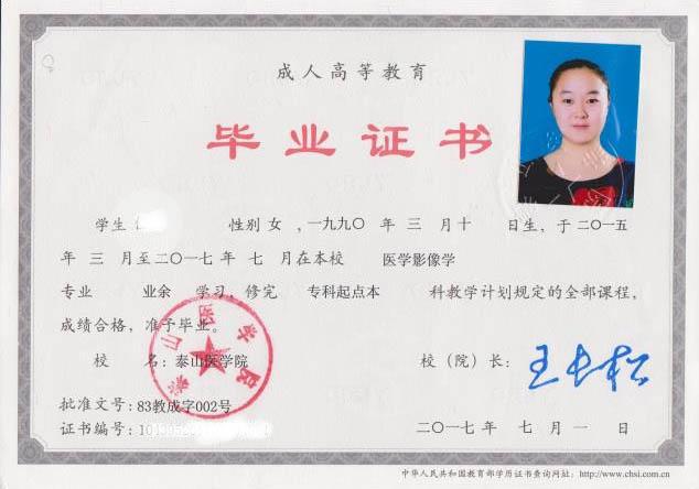 2017年毕业于泰山医学院