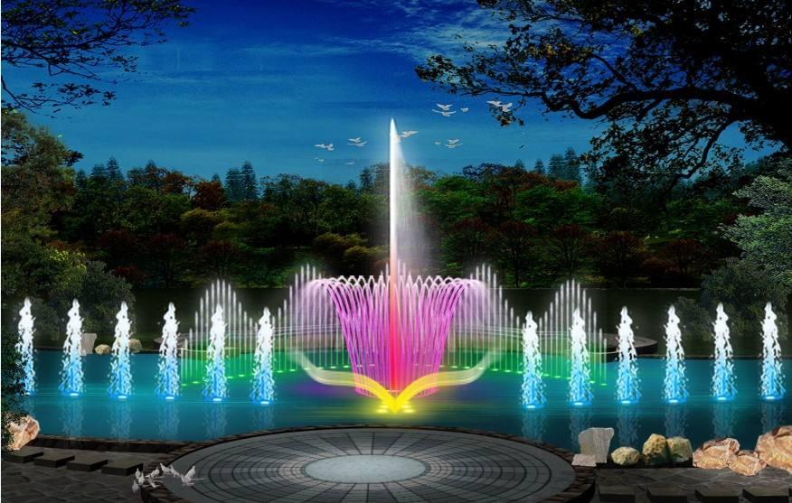 人工湖喷泉效果图