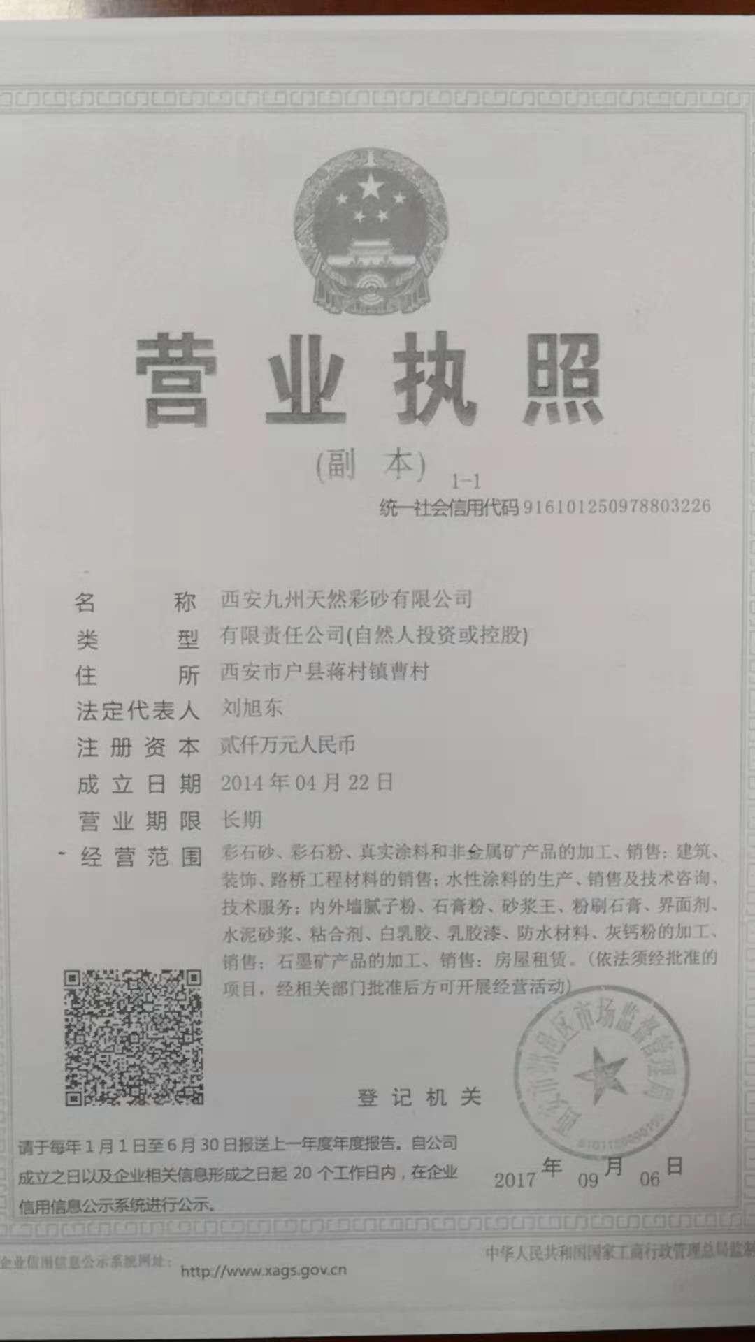 西安申博AG天然彩砂有限公司榮譽資質