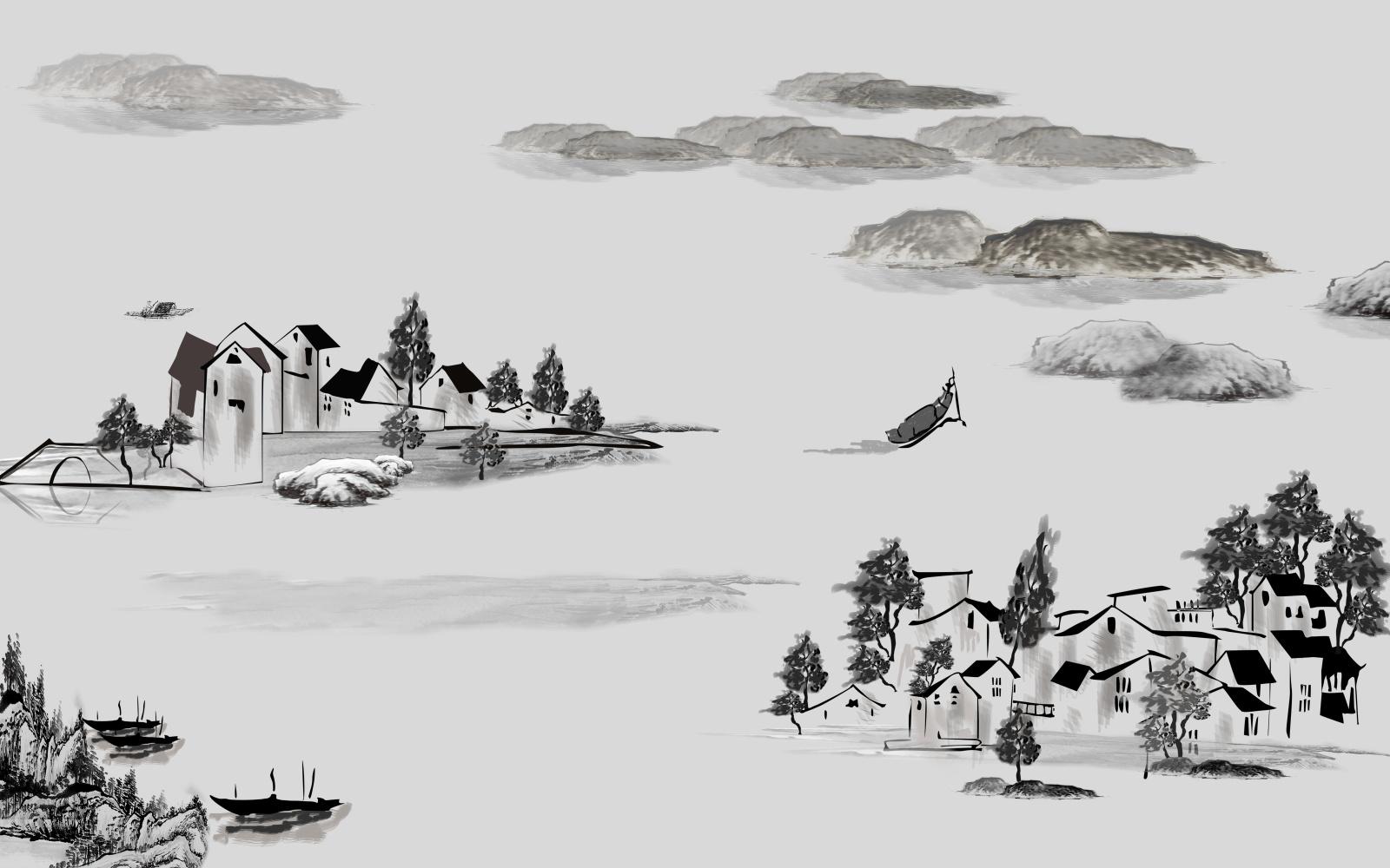 广东背景墙——水墨古风