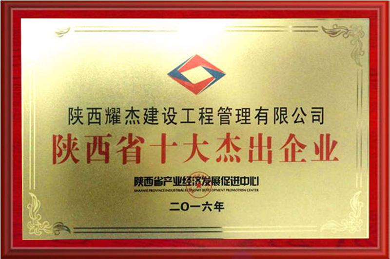 我公司获得陕西省十大杰出企业