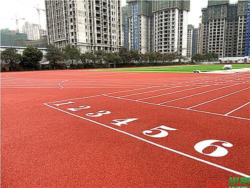 都江堰金安学校塑胶跑道和足球场人造草坪运动场地项目