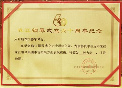 新疆珠江钢琴获奖证书