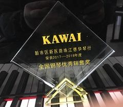 珠江德华琴行荣获2017-2018年度KAWAI钢琴全国钢琴优秀销售奖