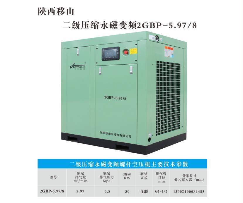 二级压缩永磁变频螺杆空压机2GBP-5.97/8