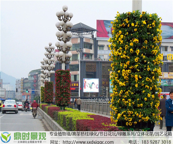 陕西立体绿化路灯杆花柱美化工程