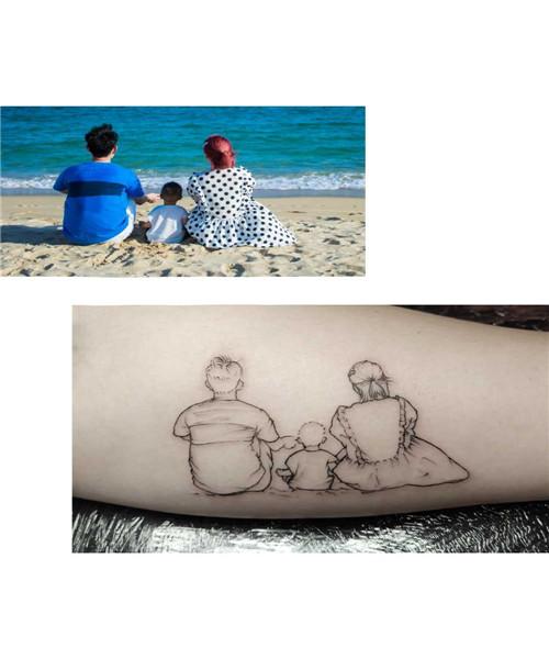 纹身案例-家人的陪伴