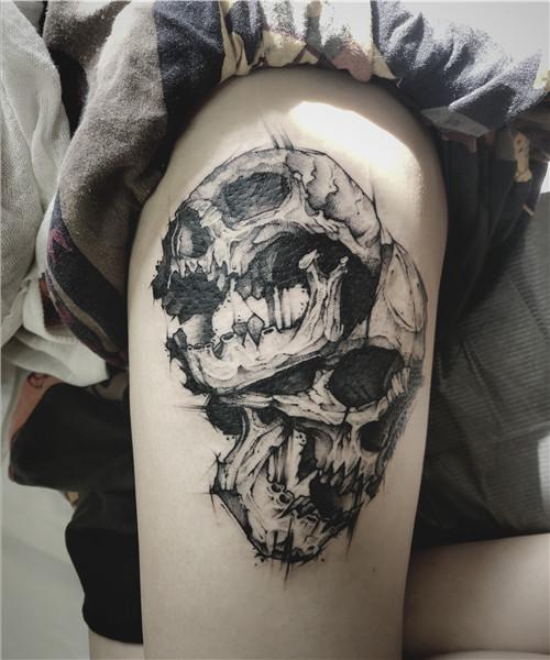 纹身作品-骷髅