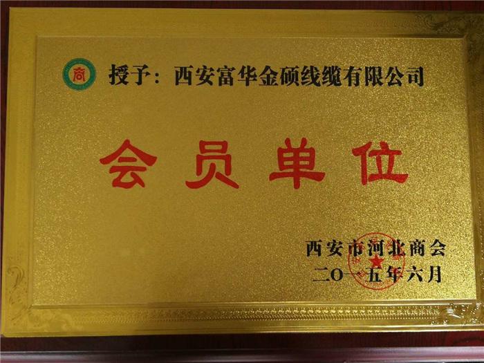 西安富华金硕线缆会员单位证书