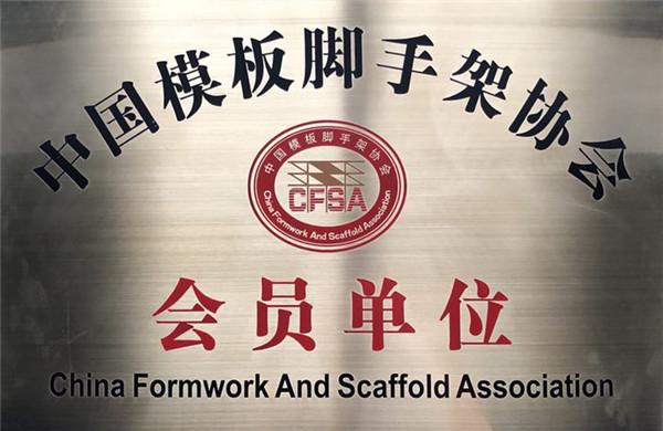 陕西固安塑业获得中国模版脚手架协会的称号
