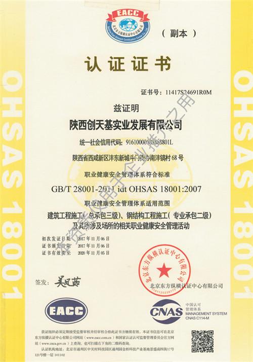 公司职业健康安全管理体系认证证书