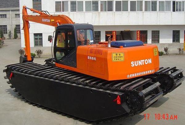 水陆两用挖机机械展示--160小型水陆挖机