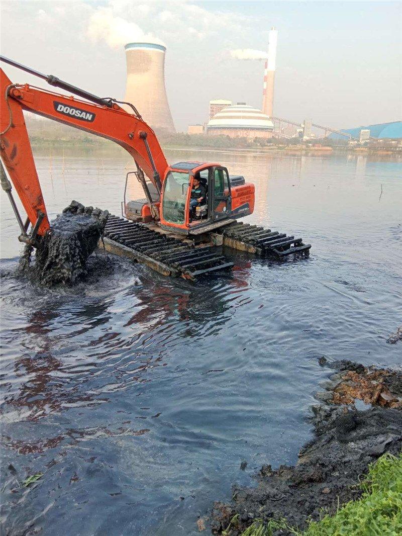 水陆两用挖机出租--市政环保工程