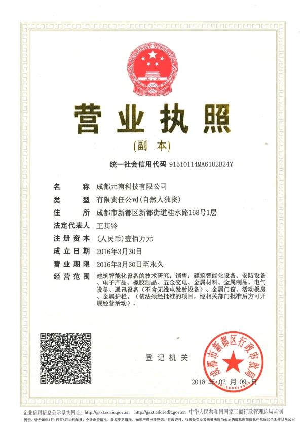 成都元南科技有限公司营业执照