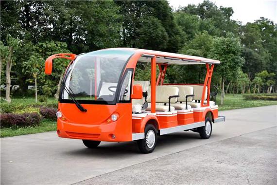 桔紅色14座成都電動觀光車定制