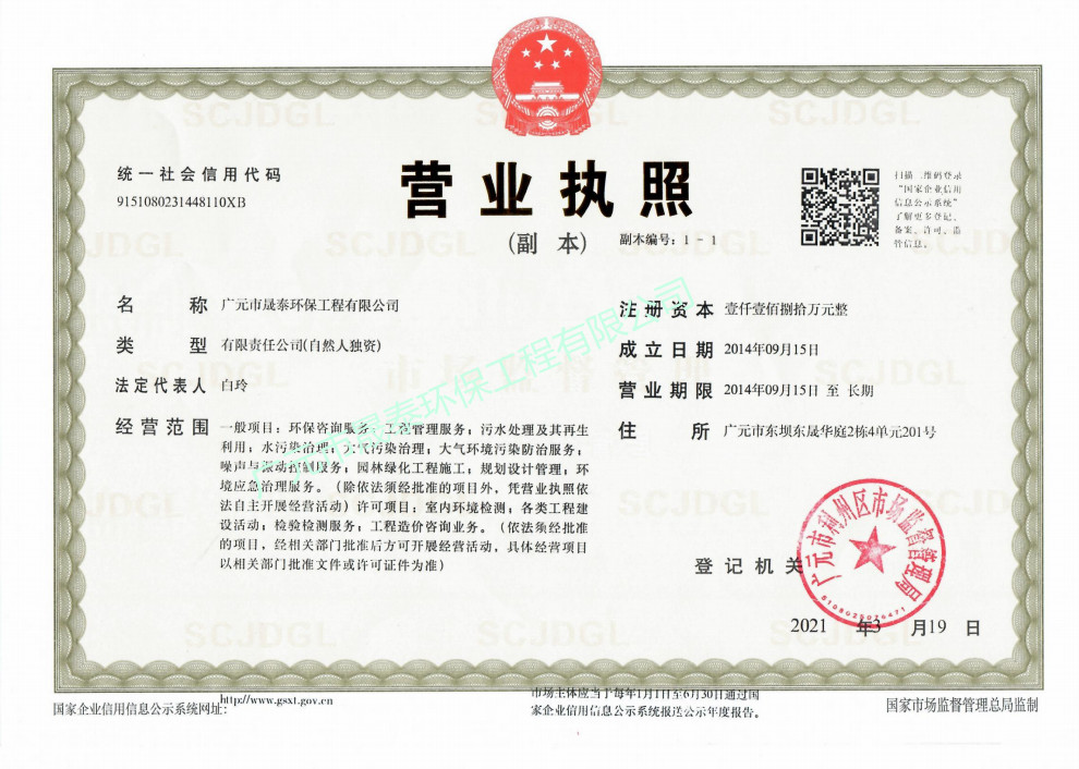 广元晟泰环保公司营业执照