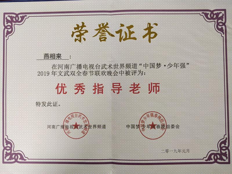 2019年河南电视台春晚获奖证书