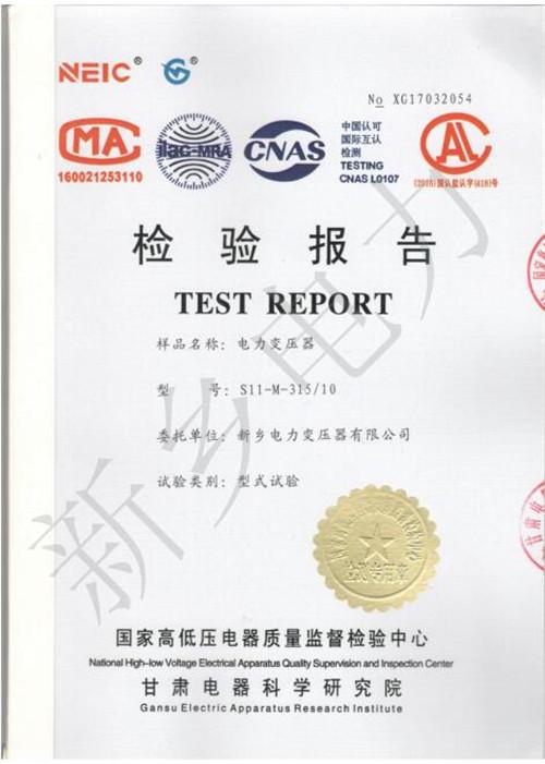 河南电力变压器检验报告