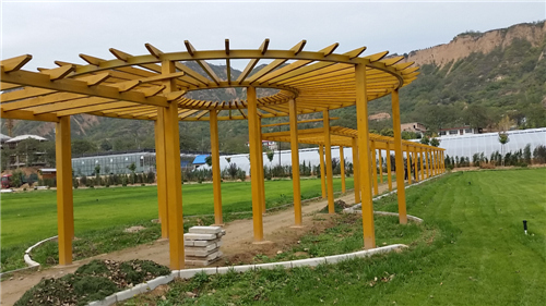河南防腐木长廊-山西平陆天鹅湖景区