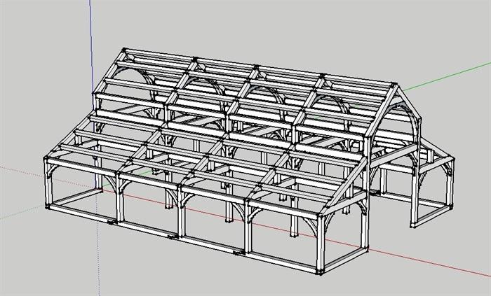 精致的防腐木木屋结构模型图