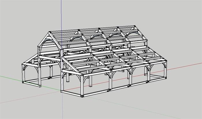 防腐木木屋结构图
