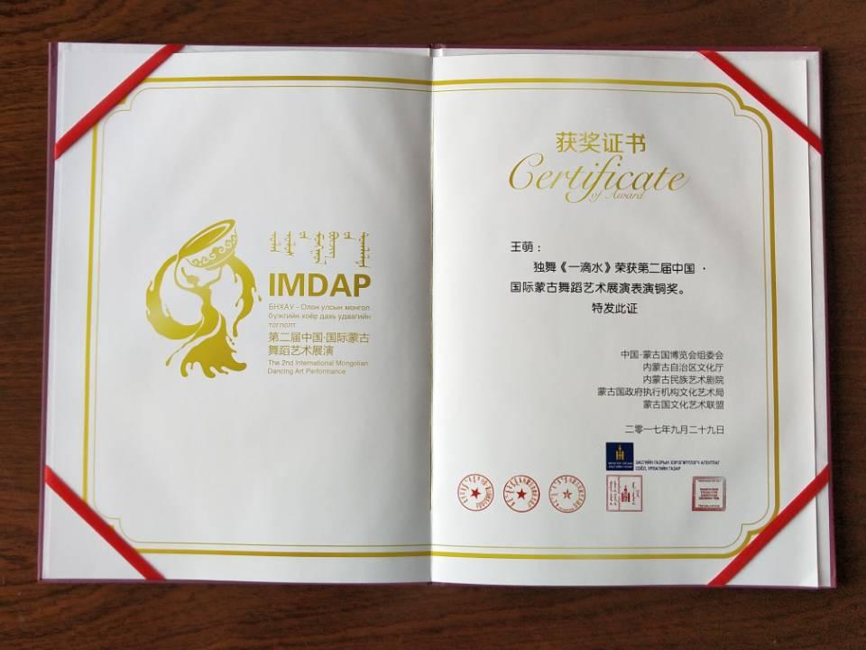 中国国际蒙古舞蹈艺术展演表演铜奖