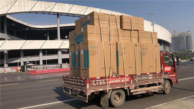 成都会展中心消毒柜配送车辆