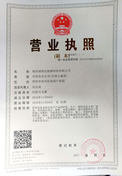 四川LED节能灯公司营业执照