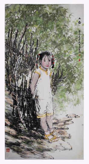 杨光利字画-女孩