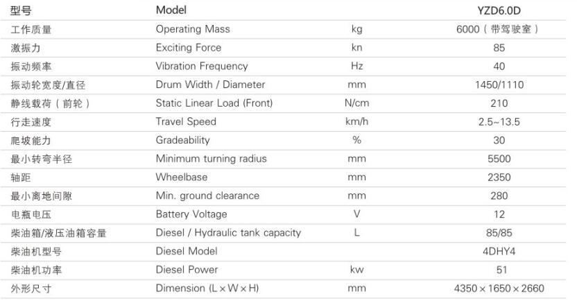 YZD6.0D单钢轮震动压路机参数
